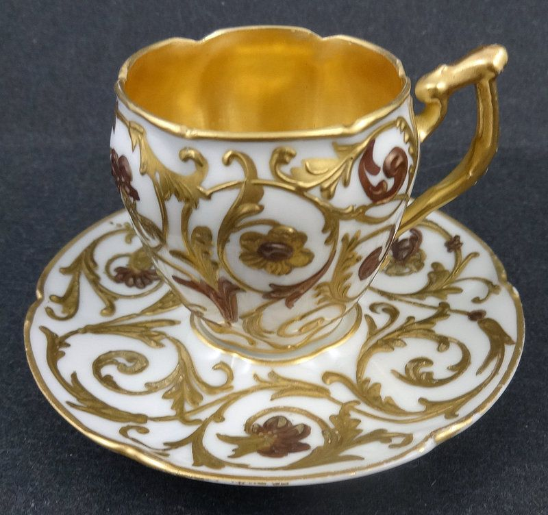 Antique Set Of 6 Sevres Style Demitasse Cups Saucers Tea Cups