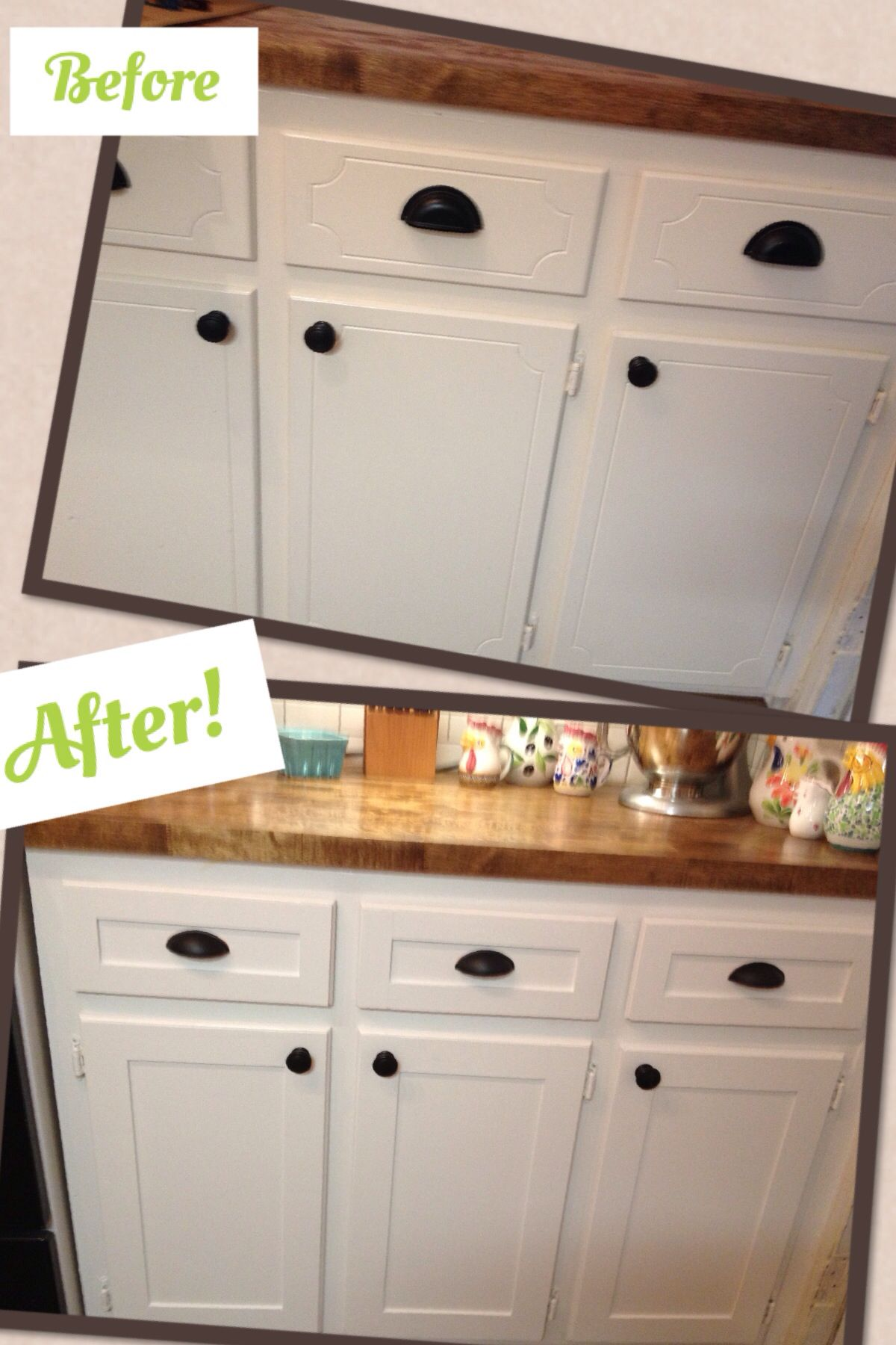 Kitchen cabinet refacing project - DIY shaker trim - done! Before ...