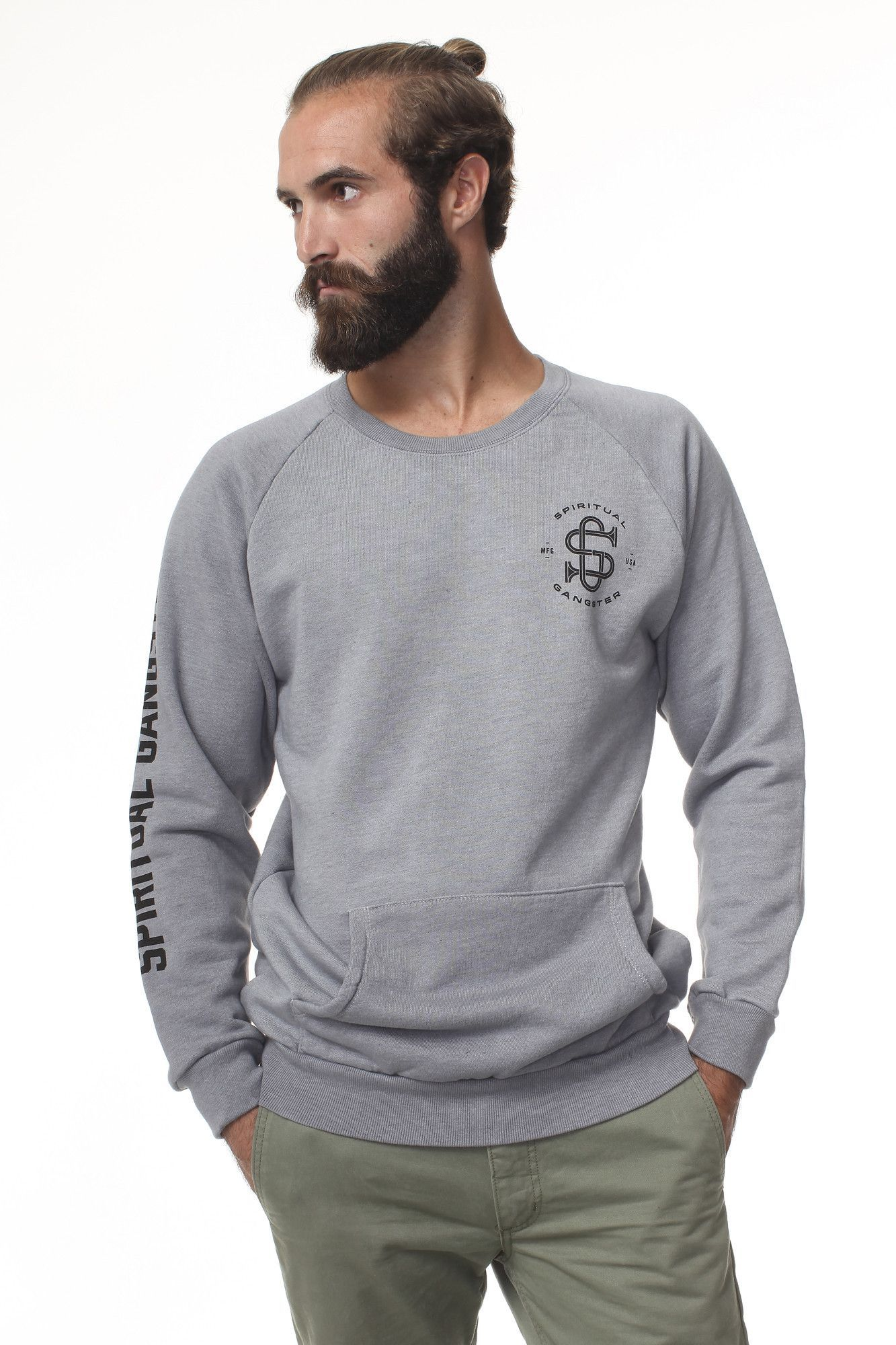 Gangster flannel shirts  Spiritual Gangster Crest Sweatshirt Grey  Products  Pinterest