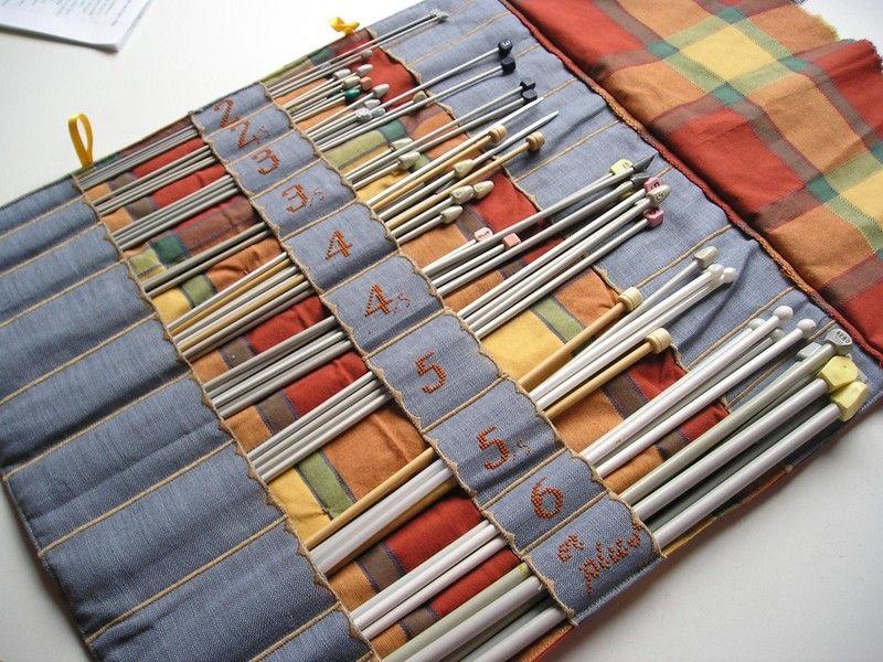 Trousse porte aiguilles tricoter l 39 int rieur couture - Aiguille a tricoter geante ...