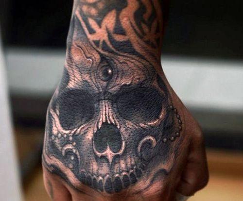 Tatuaże 3d Czaszka Na Dłoni Tattoos Hand Tattoos For