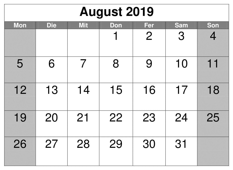 August Kalender Akademisch 2019 August, Pdf, Words