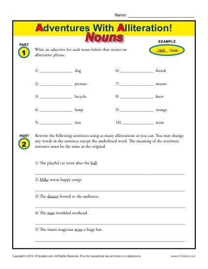 Alliteration and Nouns  Free printable worksheets Alliteration