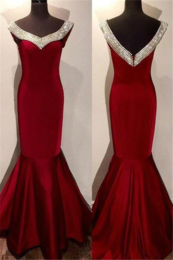 89cdfab1f9 Red Crystal Mermaid Satin Prom Dresses Prom Gowns