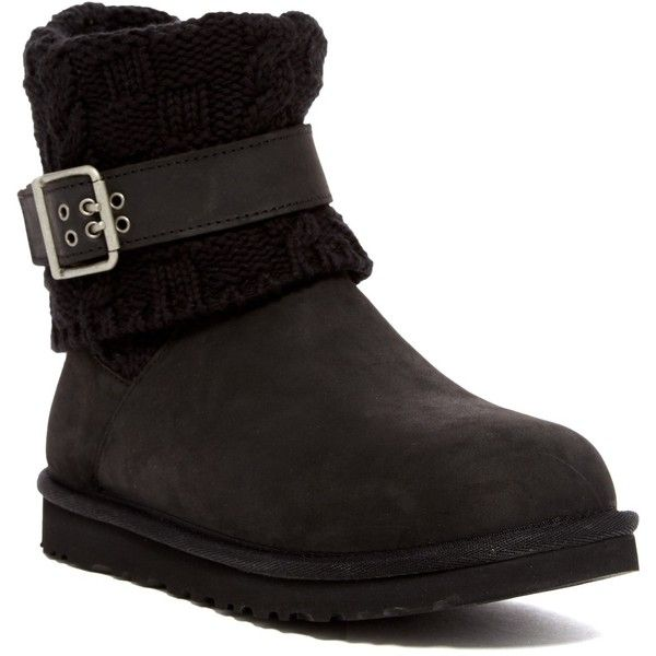 UGG Australia Cassidee UGGpure(TM) Knit Cuff Boot (2,005 MXN) ❤ liked on Polyvore featuring shoes, boots, ankle booties, ankle boots, blk, faux-fur boots, fold over booties, leather booties, leather ankle booties and leather boots