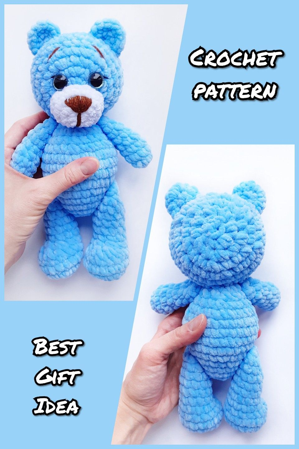 CROCHET PATTERN bear toy - Amigurumi pattern teddy bear - crocheted toy Pattern in English - Crochet #beartoy
