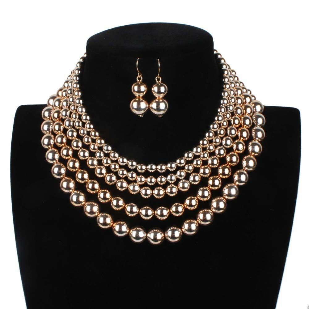 Gold pearl gold color sets pearl necklace gold color chain imitation