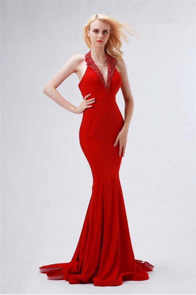 Halter Plunging Neckline Dresses