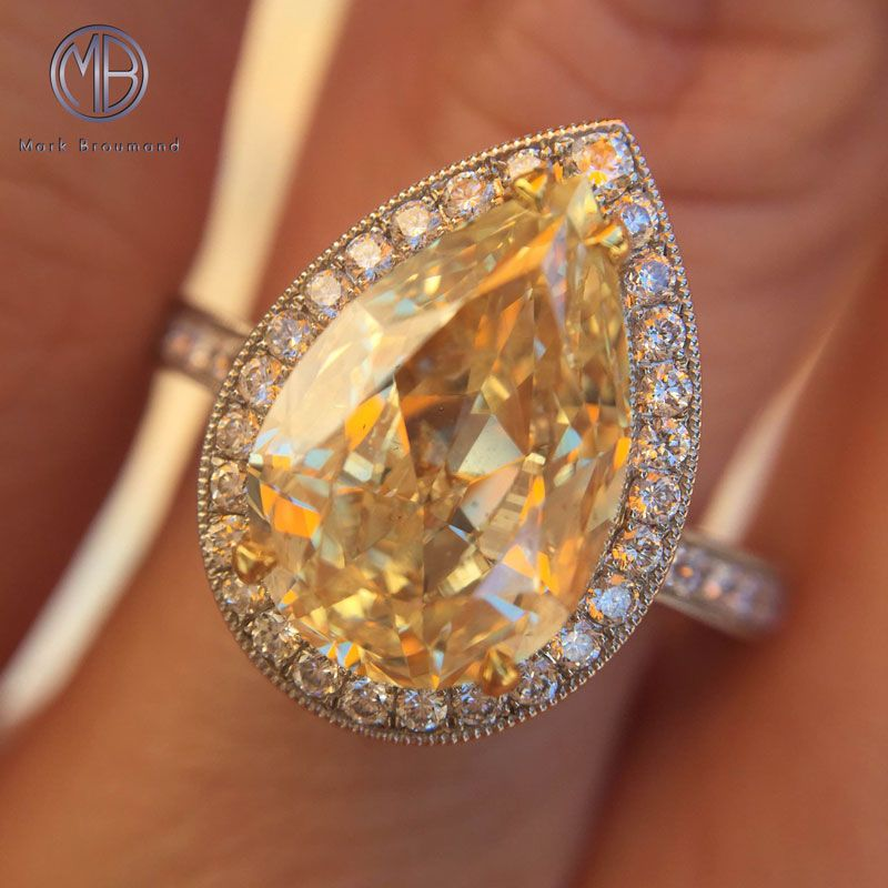 diamond canary pear halo rings shaped engagement yellow ring