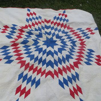 Vintage Antique Handmade Lone Star Quilt Red White Blue Cottage Chic Cabin Quilt Lone Star Quilt Cottage Quilt Quilt Labels