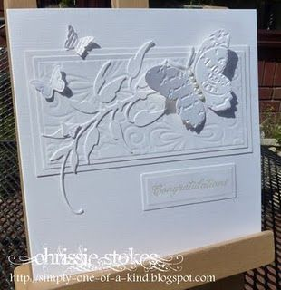 Congratulations - simple, 3-D, white on white, unique embossing on the butterfly.