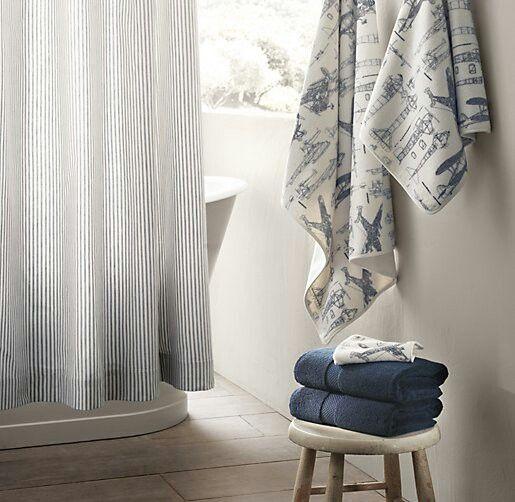 Restorationhardware Com Fabric Shower Curtains Striped Shower