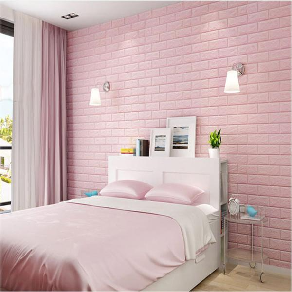 Pack Of 10 58 Sq Ft Blush Pink Peel And Stick 3d Foam Brick Wall Tile In 2021 Brick Wall Bedroom Brick Wallpaper Bedroom Bedroom Wall