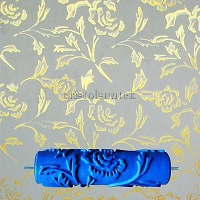 7 034 Embossed Painting Roller Brush Sleeve Peony Pattern Wall Decal Tool Diy Patterned Paint Rollers Emboss Painting Paint Roller