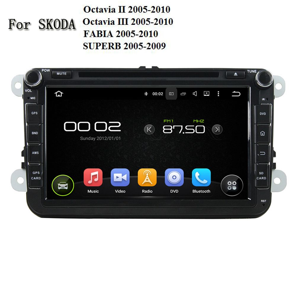 1024 600 Android 5 1 1 Radio Gps Bt Wifi Car Dvd Player For Skoda