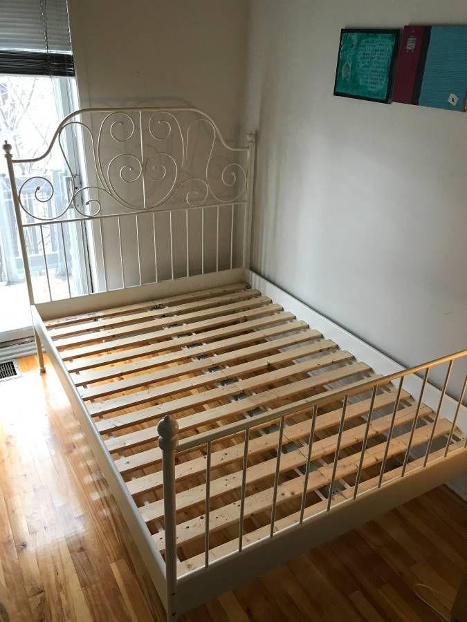 Ikea White Metal Bedframe Leirvik Model Full Size 78 X 56 Also Includes Wood Slats White Bed Frame Bed Frame
