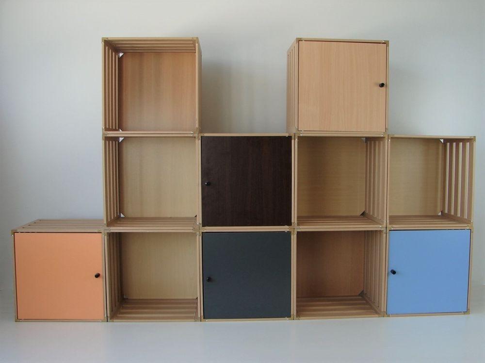 Regal Mit Türen details zu regalsystem aus 12 holzboxen mit 6 türen holzkisten