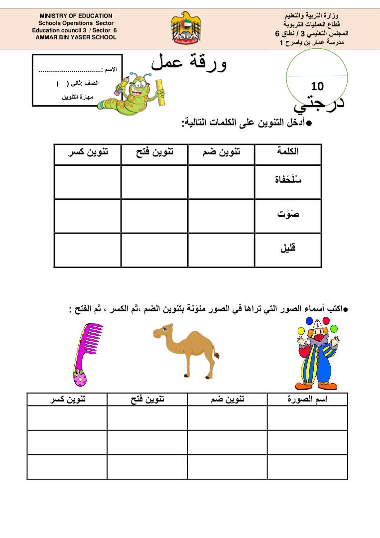 ورقة عمل عن التنوين بأنواعه بحث Google Arabic Alphabet For Kids Alphabet For Kids Arabic Lessons