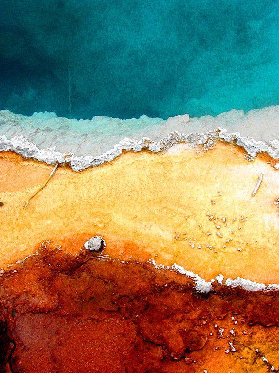Yellowstone hot springs photo, geyser pool wall art, nature print ...