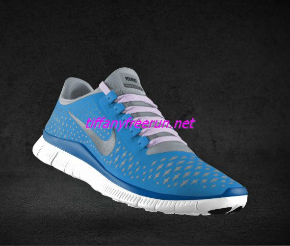 Womens Nike Free 3.0 V4 Prism Blue Reflective Silver Sail Light Violet Lace Shoes