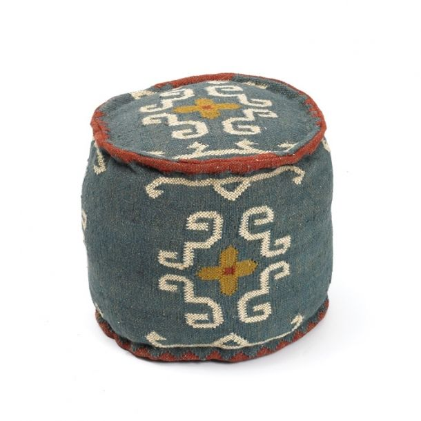 Round Tribal Kilim Pouf Kilim Ottoman Floor Pillows Poufs
