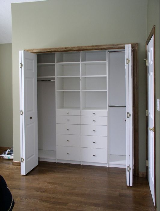 White Melamine Reach In Closet Closet Remodel Bedroom