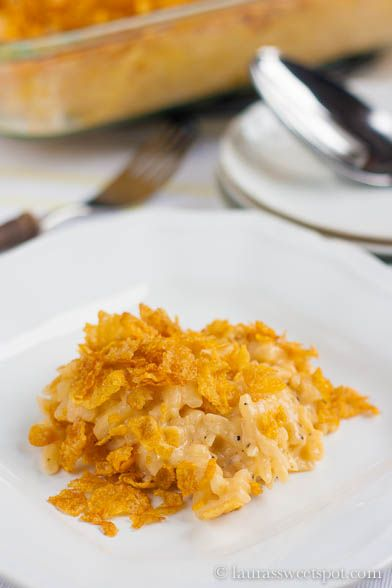 The classic potluck casserole- Cheesy Hashbrown Potatoes with a crunchy cornflake topping WITHOUT canned soup!