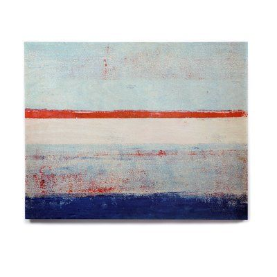 "East Urban Home 'Stripes' Print on Wood Size: 20"" H x 24"" W x 1"" D"