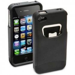 The iBottleopener will slide onto your iPhone 4 with ease, transforming your phone into a sturdy, reinforced bottle opener with a soft rubber finish. It won't scratch or damage your phone in any way and is completely sealed underneath to prevent moisture from coming in contact with the phone when you crack open your drinks.