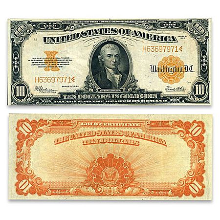 1922 10 U S Gold Certificate Horse Blanket Hillegas Note Old
