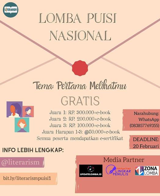 Lomba Puisi Nasional Tema Pertama Melihatmu Lomba Menulis Cerpen 2020 2021 Puisi E Book Tulisan
