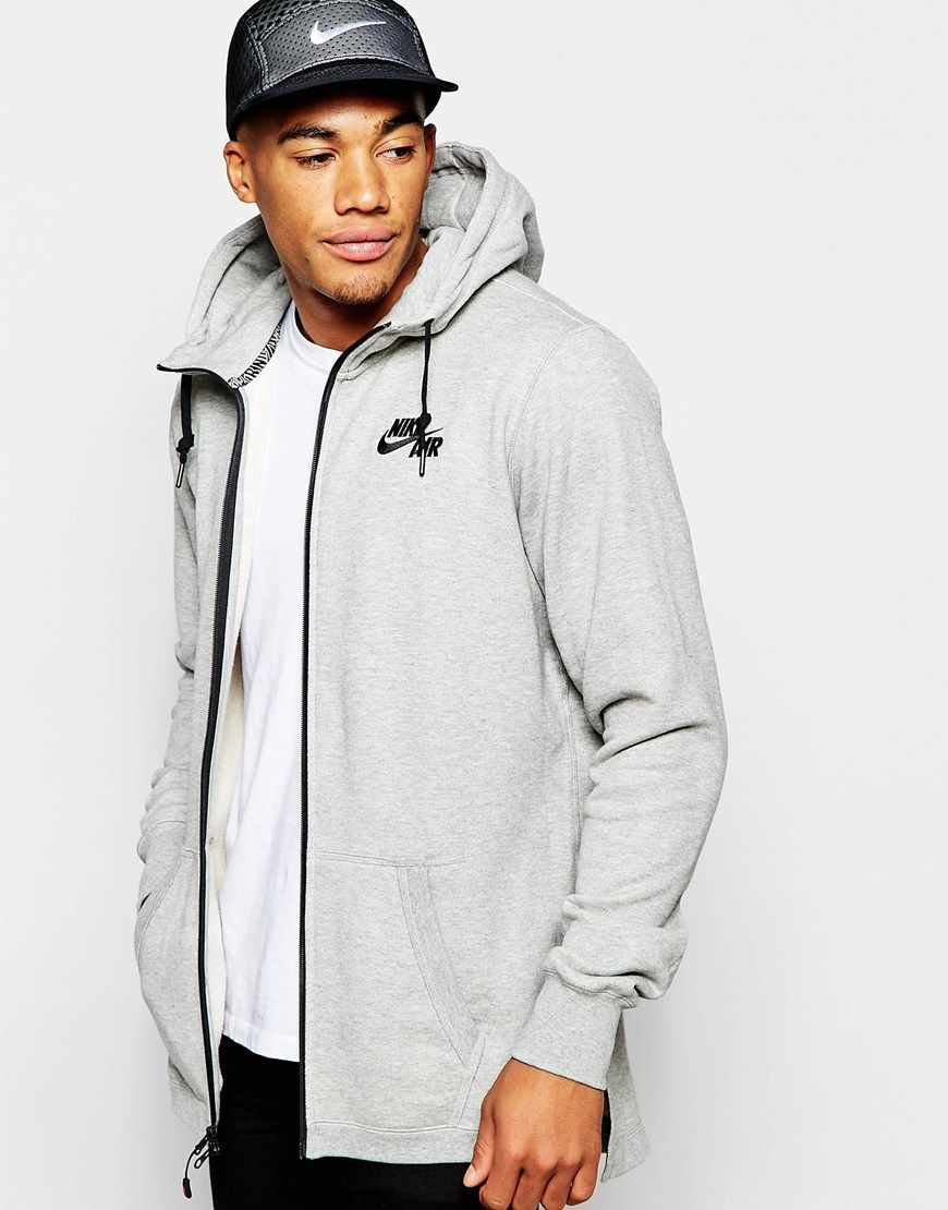NWT Nike Longline Zip Up Hoodie Gray Jacket Nike Air SZ L Clothing, Shoes &  Accessories:Men's Clothing:Athletic Apparel