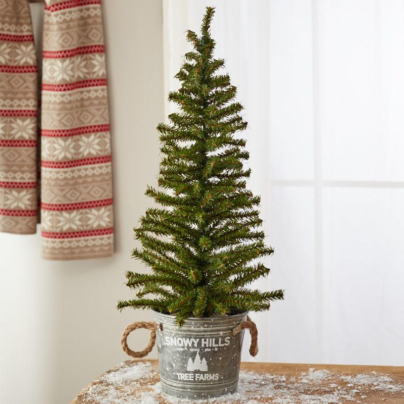 Snowy Hills Tree Farm Galvanized Pail And Artificial Pine Tree Tree Farms Winter Holiday Crafts Tree