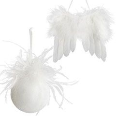 White Feathered Ornaments