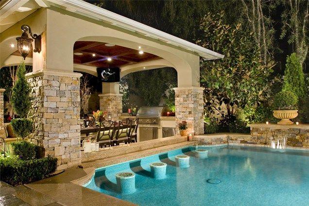 20 lavish poolside outdoor kitchen designs pool bar for Outdoor pool bar ideas