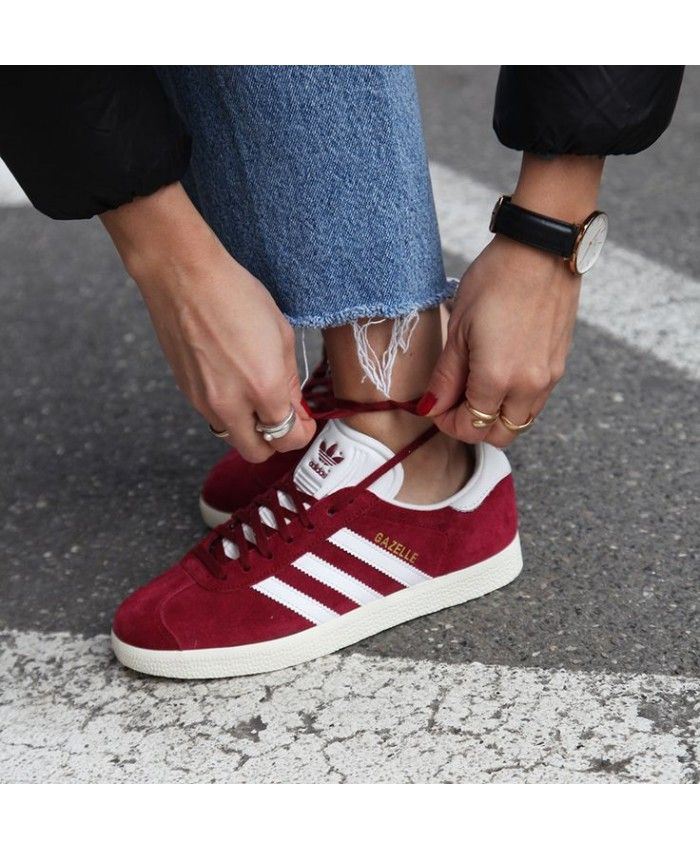 buy popular 0384b 8b897 Womens Adidas Gazelle Bordeaux Bianco Trainer