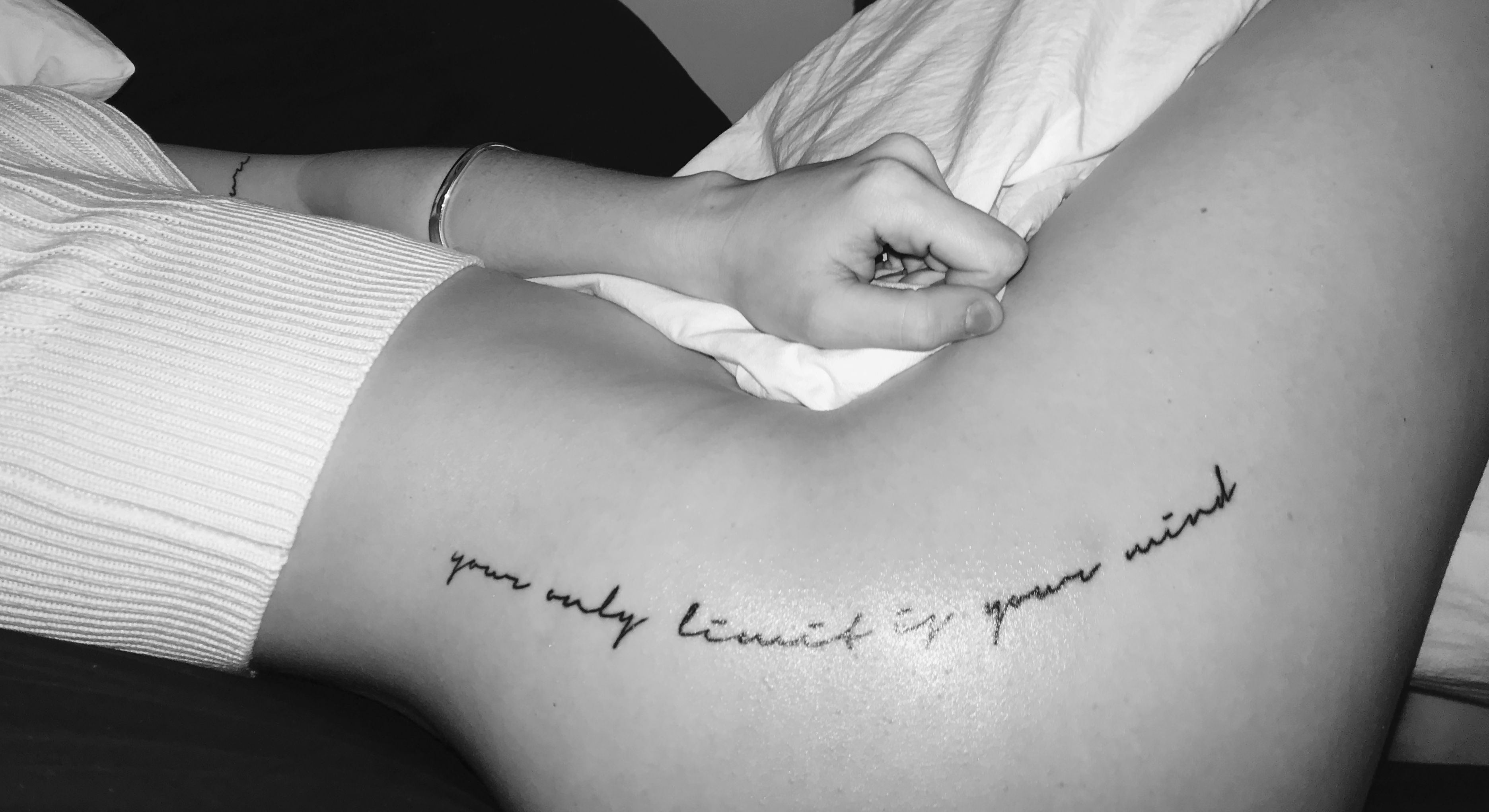 Photo of your only limit is your mind tattoo on the hip