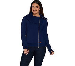 Peace Love World Asymmetric Zip Front Scuba Knit Jacket