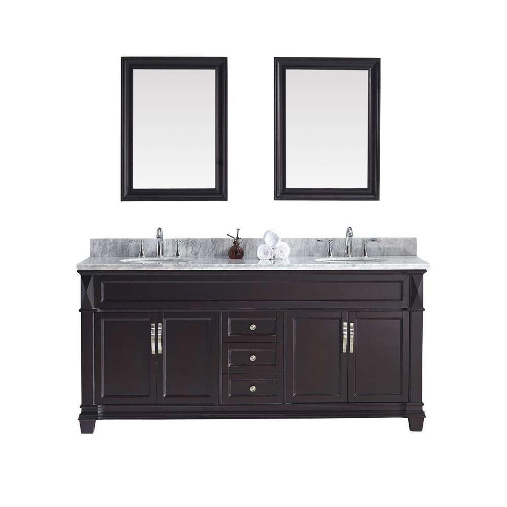Virtu Usa Victoria 72 In W Bath Vanity In Espresso With Marble Vanity Top In White With Round Basin And Mirror Md 2672 Wmro Es Marble Vanity Tops Double Sink Bathroom Vanity