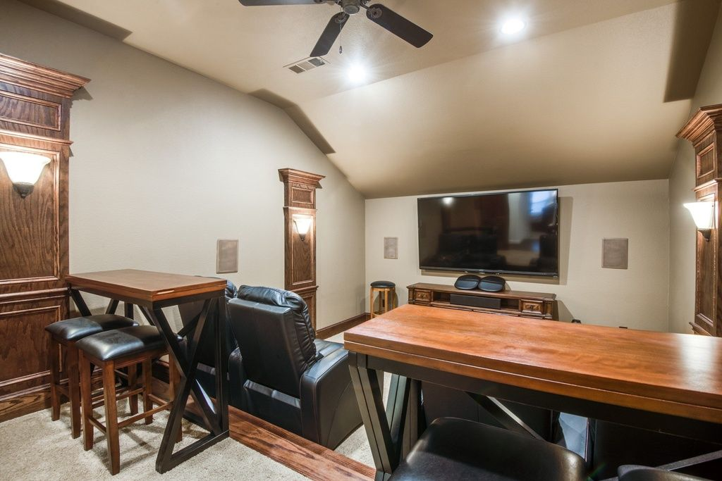 Transitional Home Theater With Carpet Wall Sconce Cathedral Ceiling Fan