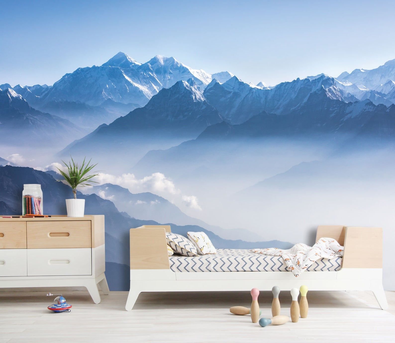 Scenic Mountains mural, Misty Mountain Shadow, Hazy