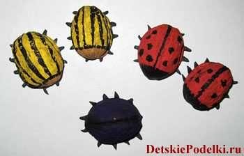 Поделка жуки из ореховой скорлупы / Детские поделки ...
