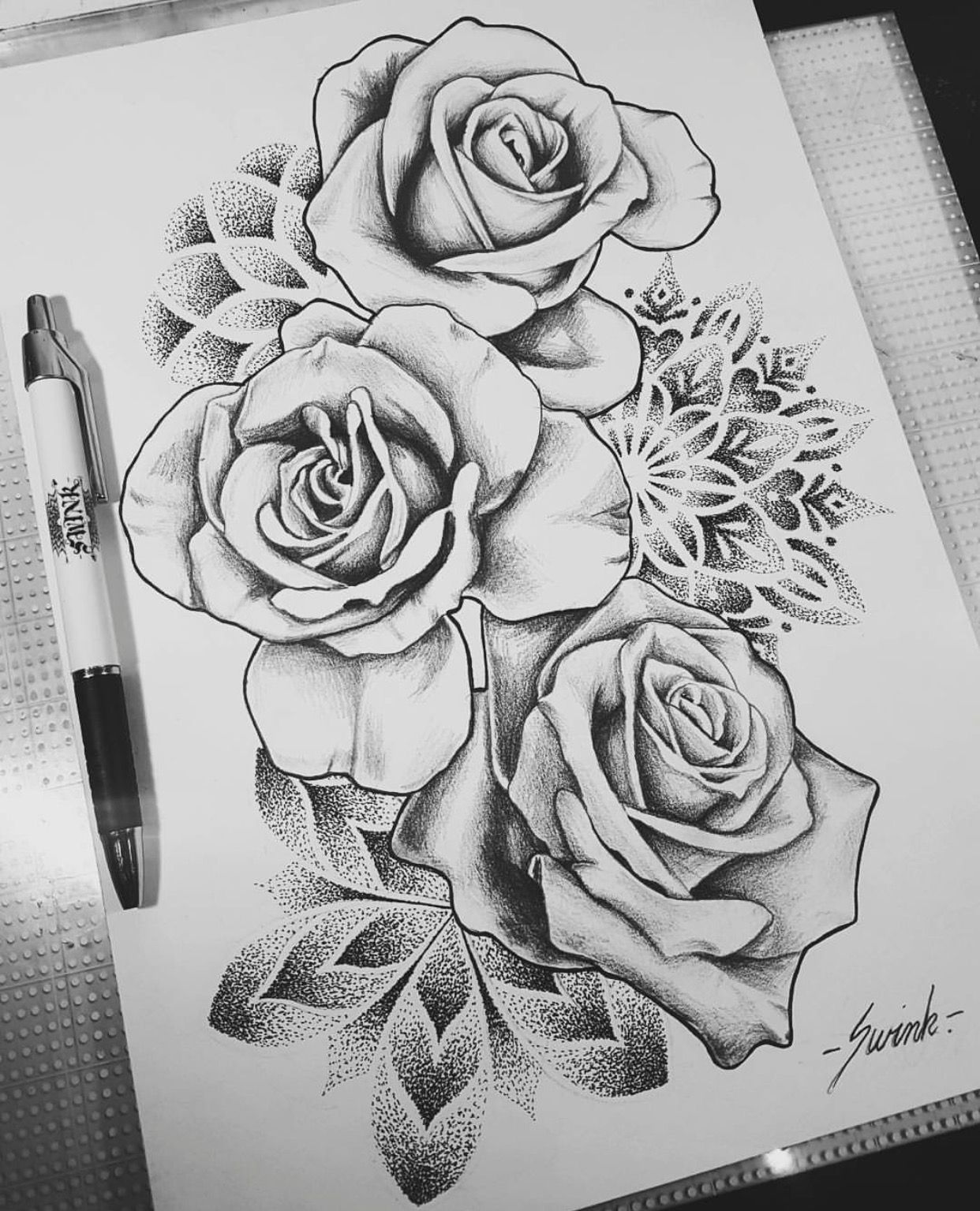 Geometrical Mandala Dot Work Roses Tattoo Design Drawing Found On Instagram Rose Tattoo Sleeve Tattoo Design Drawings Rose Tattoo Design
