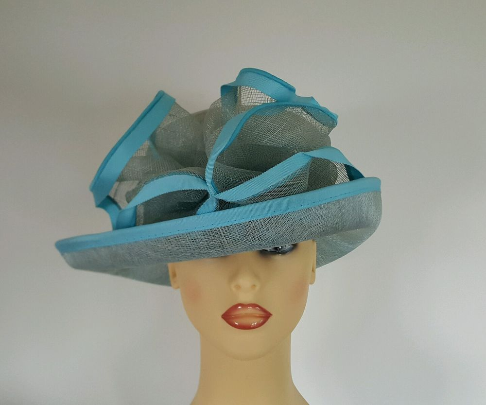 Ladies Occasion Wedding Races Mother Bride Hat Turquoise Blue ...