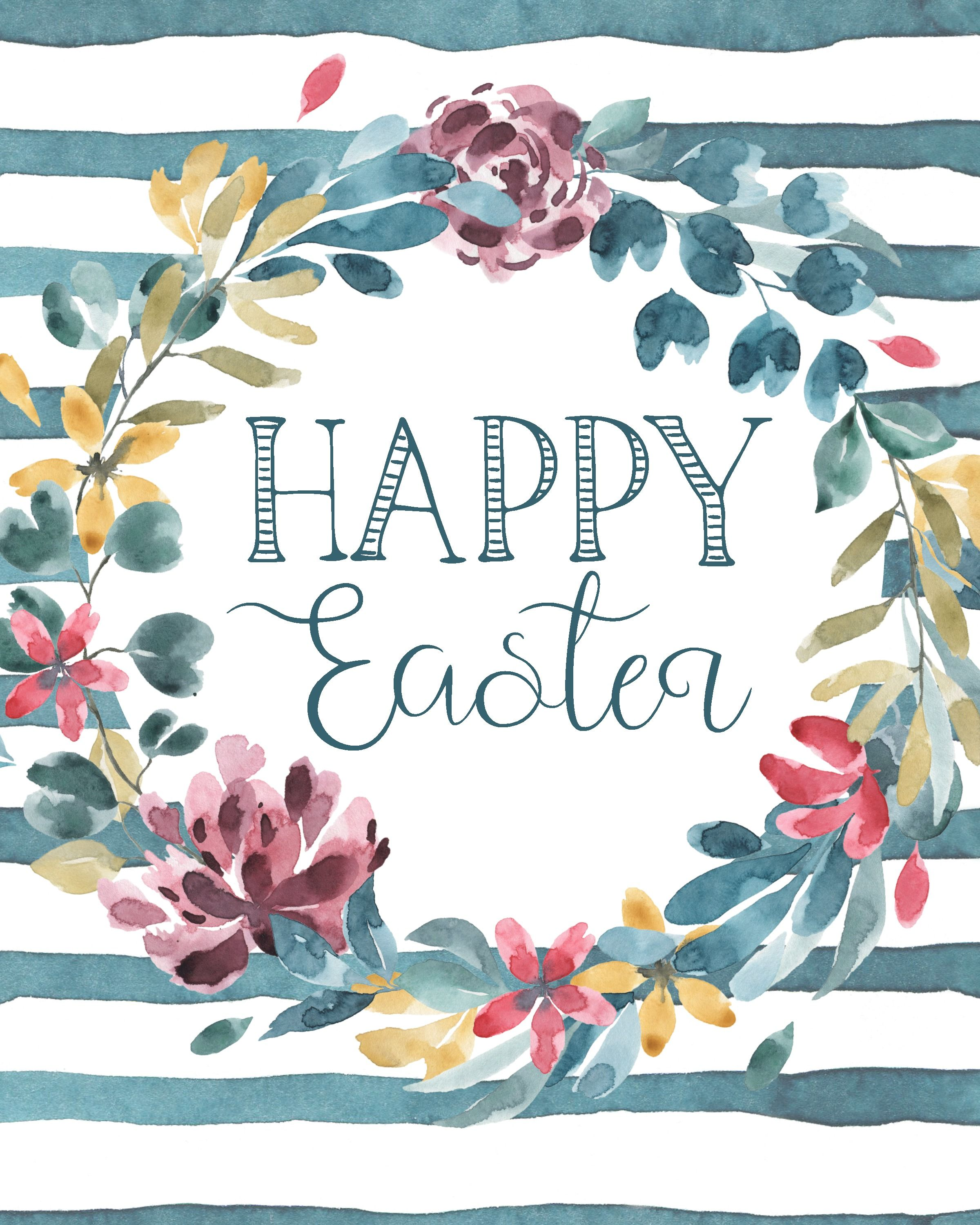 Happy Easter Printable Spring Printable Happy Easter Wall Art Spring Wall Art Affordable Wall Art Easter Decor Spring Decor Watercolour Flowers Quotes