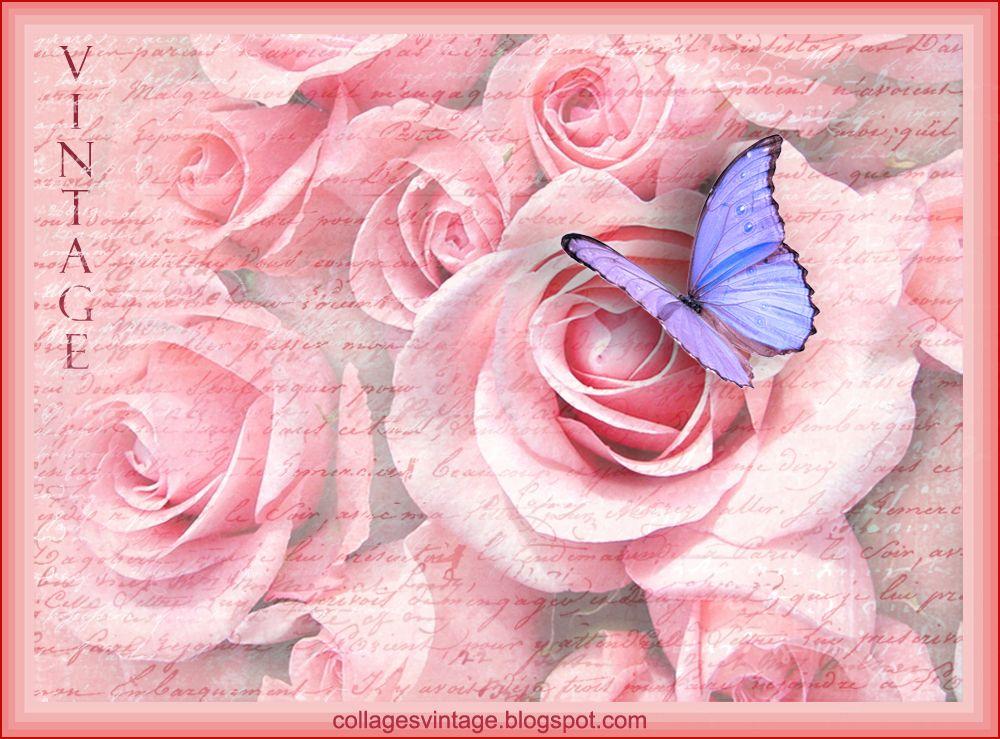 Collages vintage Fondos vintage. Dama, rosas y mariposas