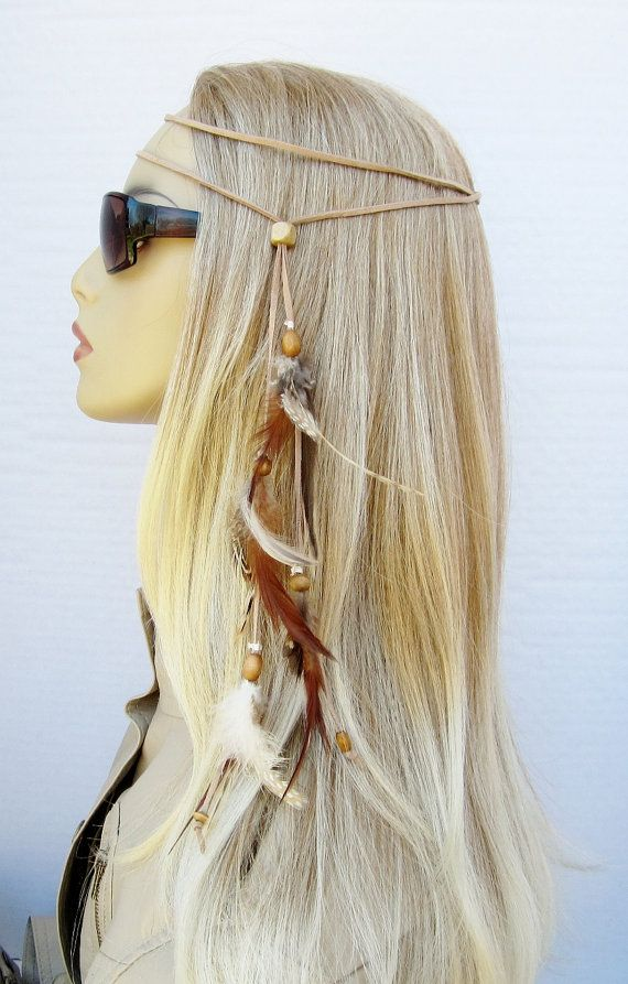 TINY DANCER hippie headband feathers suede by feathers2gether ...