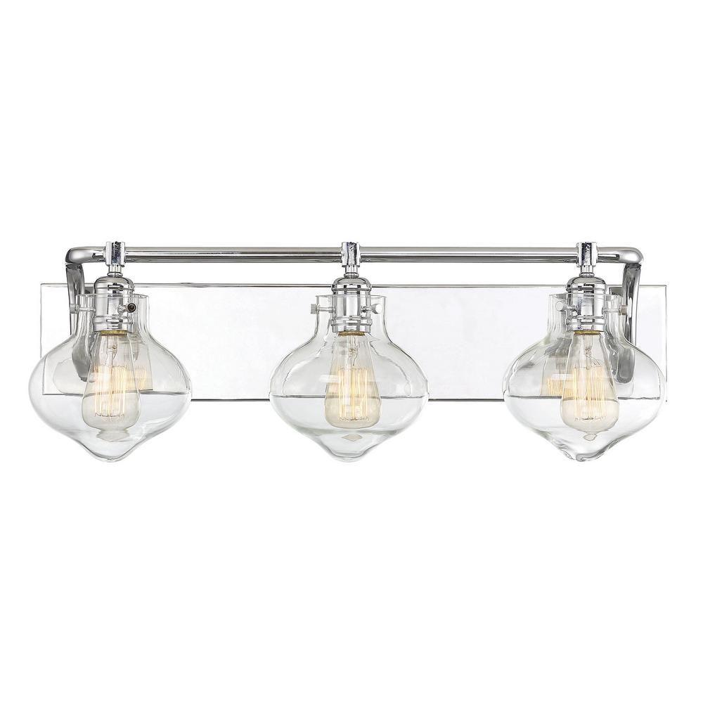 Filament Design 3 Light Polished Chrome Bath Light With Clear Glass Bathroom Light Fixtures Bath Light Vanity Lighting