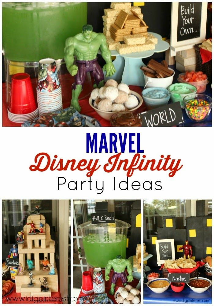 Marvel disney infinity games party ideas hulk punch for Food bar party ideas