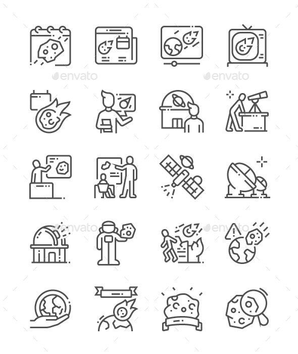 Asteroid Day Line Icons. Fully customisable set of icons